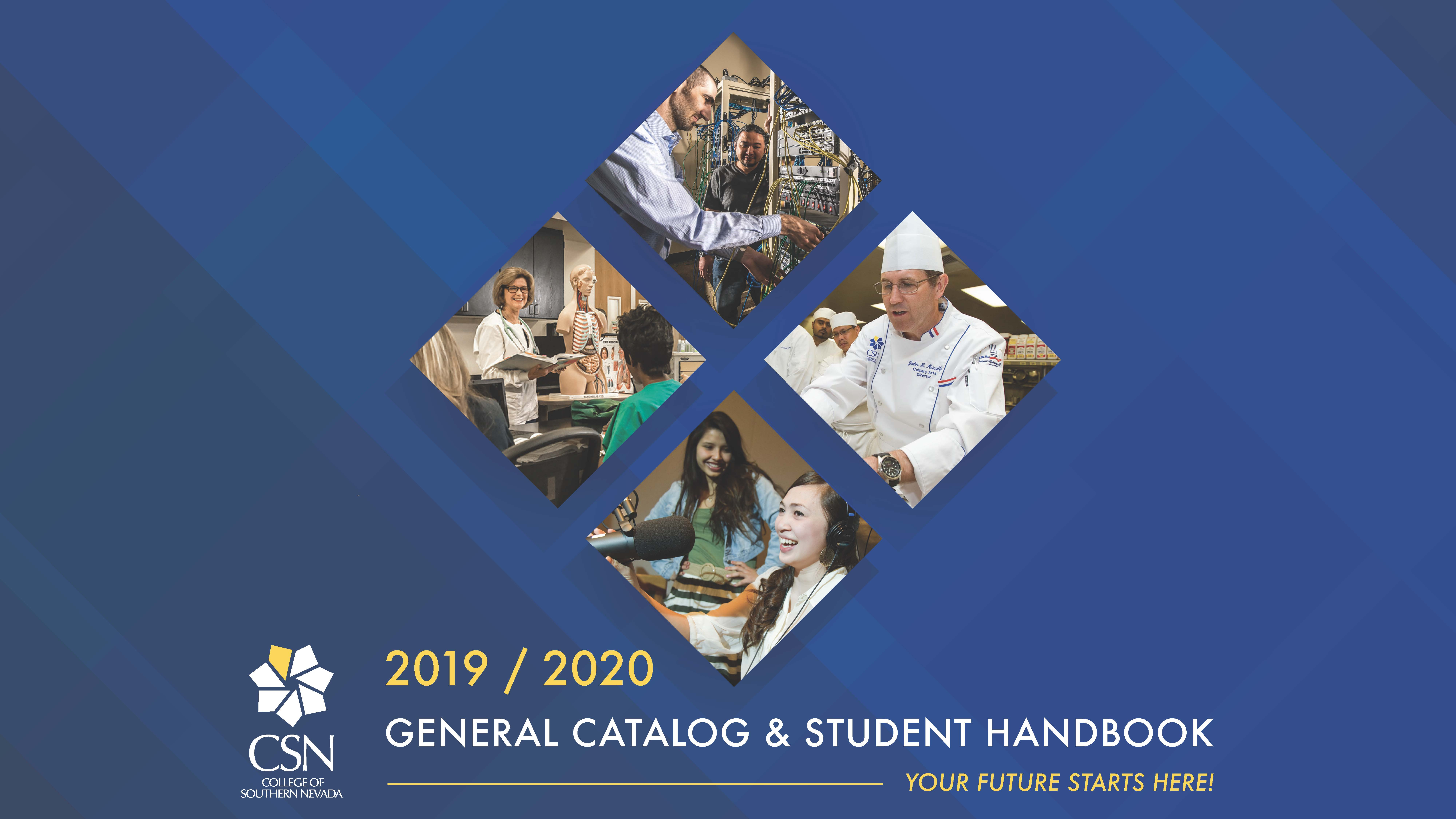2019-2020 Catalog Cover Image with Students in Classes