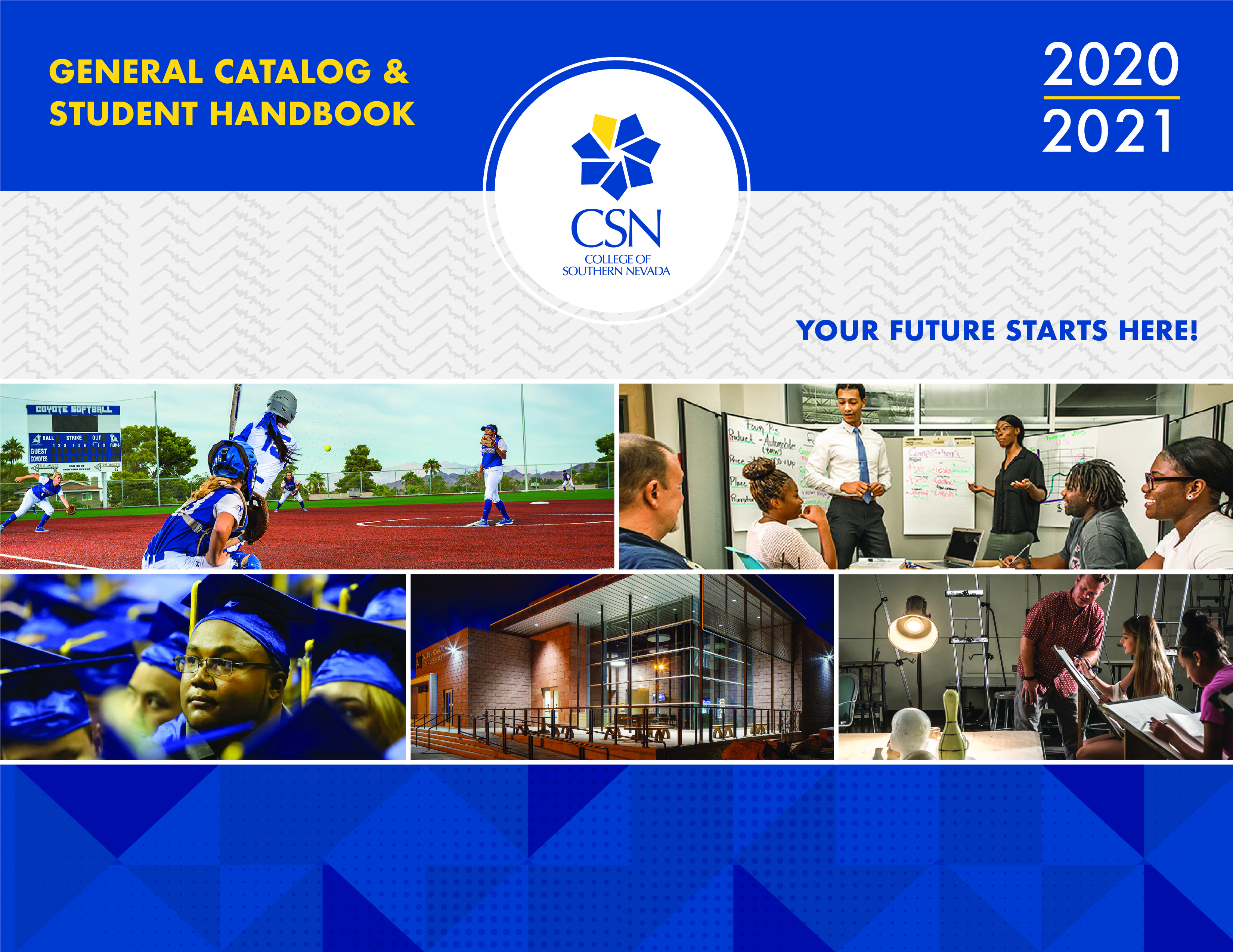 2020-2021 Catalog Cover Image with Students in Classes